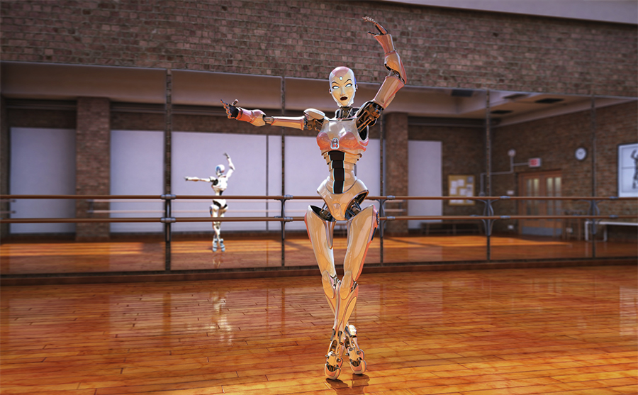 ballerina robot in studio